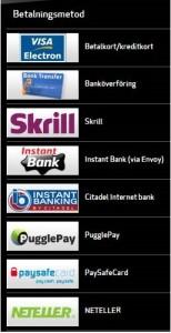 Online gaming betalningsalternativ