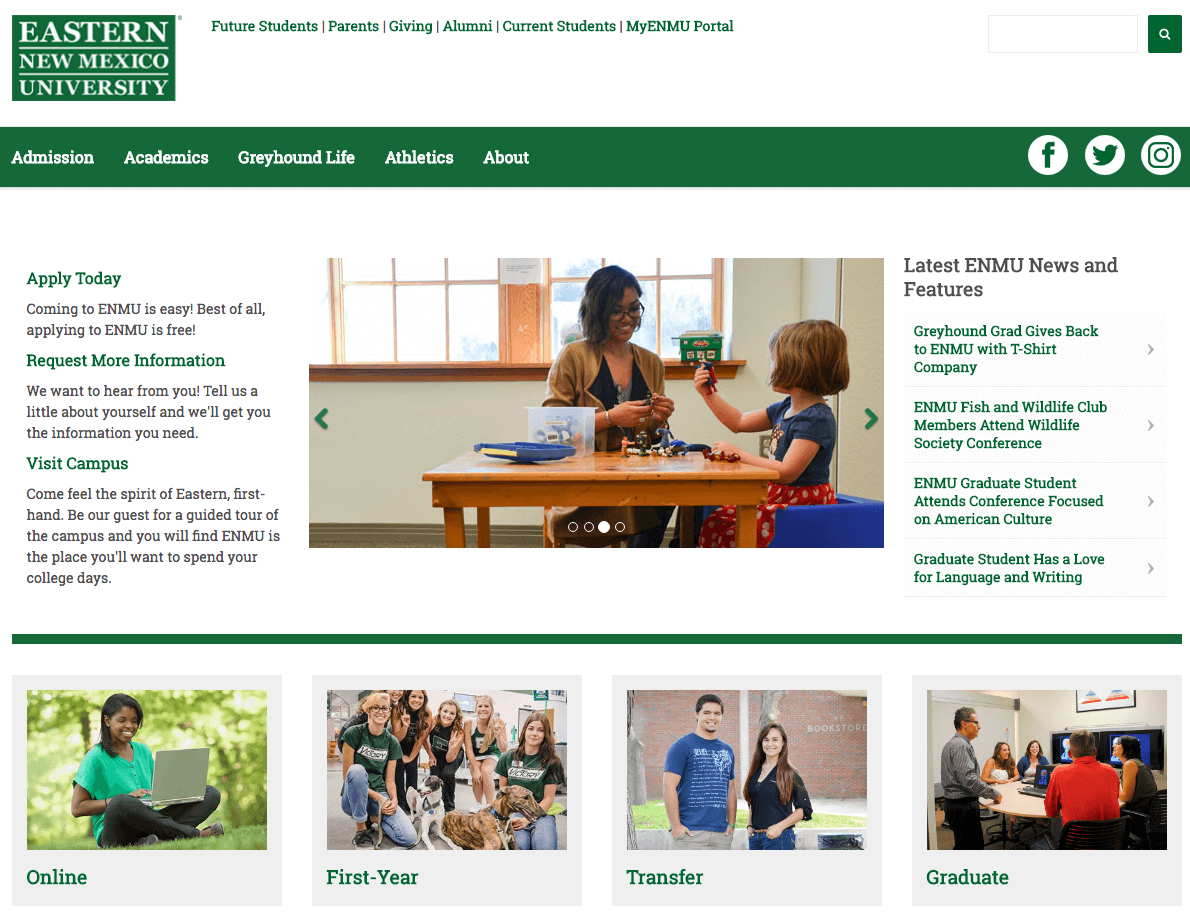 New Mexico University Website